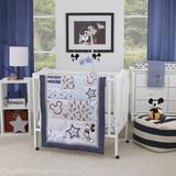 Disney Mickey Mouse 3 Piece Crib Bedding Set Polyester in Black/Blue/Gray, Size 30.0 W in | Wayfair 7765740P