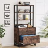Wade Logan® 2 Drawer Vertical File Cabinet w/ Lock & Open Storage Shelves For Home Office Wood in Brown, Size 61.8 H x 29.5 W x 15.7 D in | Wayfair