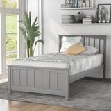 Red Barrel Studio® Wood Platform Bed Twin Size Platform Bed Wood in Gray, Size 42.0 W x 79.5 D in | Wayfair 1CB49B6081BA44E3BB8D3328B4EF7549