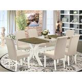 Winston Porter Aimy 7-Pc Kitchen Dining Room Set - 6 Upholstered Dining Chairs & 1 Modern Cement Dining Table Top w/ High Roll Chair Back | Wayfair