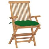 Red Barrel Studio® Joley Folding Teak Patio Dining Armchair w/ Cushion Wood in Brown/White | Wayfair 31D0534D45E4404FA52905C31961C3BC