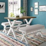 Gracie Oaks 3 Pieces Farmhouse Rustic Wood Kitchen Dining Table Set w/ 2 Upholstered Benches, White+Beige Wood/Upholstered Chairs in White/Brown