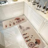 Rosalind Wheeler 2 Pieces Cushioned Chef Rug Microfiber Kitchen Rugs Non-Slip Rubber Floor Mat Kitchen Carpets Machine Washable Mat Synthetics