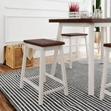 August Grove® Set Wood Dining Table & 4 Chairs Pub Bar Table Breakfast Nook For Kitchen Small Space Living Room Wood in Brown/Green/White | Wayfair