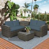 Red Barrel Studio® TOPMAX 4 PCS Outdoor Cushioned PE Rattan Wicker Sectional Sofa Set Garden Patio Furniture Set (Beige Cushion) Wicker/Rattan