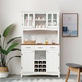 Rosalind Wheeler Buffet & Hutch Kitchen Storage Cabinet Wood in Brown/White, Size 72.5 H x 44.0 W x 17.0 D in | Wayfair