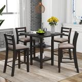 Red Barrel Studio® 5-Piece Wooden Counter High Dining Table, Square Dining Table, w/ 2 Storage Shelves & 4 Upholstered Chairs, Suitable For Families