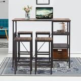 Latitude Run® 5 Piece Counter Height Dining Table Set, Industrial Style Bar Pub Table w/ 4 Backless Bar Stools For Home, Oak Finish Wood/Metal