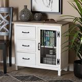 Gracie Oaks Anndy 1 - Door Square Accent Cabinet Wood in Brown/White, Size 29.5 H x 31.5 W x 13.8 D in | Wayfair 63D2845D896341BF9ACA727F6EC7B5BD
