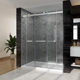 """Waterpar 60"""" W X 76"""" H Bypass Sliding Shower Door w/ 3/8 In. Clear Glass Panel Frameless Shower Enclosure For Bathroom Tempered Glass in Gray"""