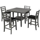 Red Barrel Studio® 5-Piece Wooden Counter Height Dining Table Set w/ Padded Chairs & Storage Shelving Wood/Metal/Upholstered Chairs in Brown/Gray