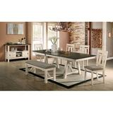 Enitial Lab Drop Leaf Dining Set Wood/Upholstered Chairs in Brown/Gray/White, Size 30.0 H in   Wayfair