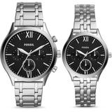 His And Her Fenmore Midsize Multifunction Stainless Steel Watch Gift Set Jewelry - Metallic - Fossil Watches