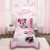 Disney Bedding | Minnie Mouse: Love Heart 4 Pc. Toddler Set | Color: Pink/White | Size: Toddler