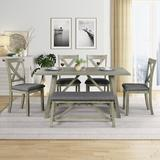 Gracie Oaks 6 Piece Dining Table Set Wood Dining Table & Chair Kitchen Table Set w/ Table Bench & 4 Chairs Wood/Upholstered Chairs | Wayfair