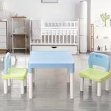 Zoomie Kids Plastic Kids Table & 2 Chairs Set, Set For Boys Or Girls Toddler Plastic in Blue, Size 17.0 H x 20.0 W x 20.0 D in   Wayfair