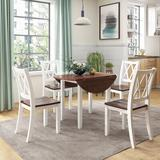 Gracie Oaks Dining Table Set Round Wood Drop Leaf 5 Piece Dining Set w/ 4 Cross Back Chairs For Small Place Wood in Brown/Green/White | Wayfair