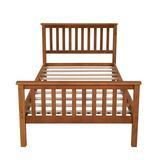 Red Barrel Studio® Twin Size Solid Wood Platform Bed w/ Headboard, Footboard & Wooden Slat Support (Oak) Wood in Brown/Green | Wayfair