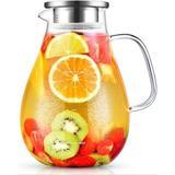 Red Barrel Studio® Glass Pitcher, 80Oz Water Pitcher w/ Lid, Large Glass Pitcher w/ Lid & Spout For Hot&Cold Beverage, Juice, Size 8.3 H in   Wayfair