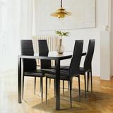 Latitude Run® Dining Table Sets, Black Color 5 Pieces Dining Table Set Tempered Glass Dining Table w/ 4 Faux Leather Chairs Glass/Metal in Black/Gray