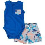 Little Rebels Baby Boys 2-pc. Shark Bodysuit Short Set