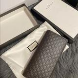 Gucci Bags   Gucci Micro Gucci Shima Leather Wallet Long Wallet   Color: Brown   Size: Os