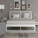Latitude Run® Queen Size Platform Bed w/ Headboard Metal in White, Size 40.3 H x 63.3 W x 82.2 D in   Wayfair ED409564BF56425CBCB3DFF5FEE79AFA