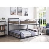 Yarmuth Full over Queen Standard Bunk Bed by Williston Forge Wood/Metal in Brown/Gray, Size 64.0 W x 83.0 D in   Wayfair