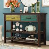 Red Barrel Studio® Console Table For Entryway w/ Drawers & Shelf Living Room Furniture (Antique Blue) Wood in Brown | Wayfair