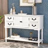 Disney TREXM Console Table Sideboard For Entryway Sofa Table w/ Shutter Doors & 4 Storage Drawers (Antique Navy) Wood in White | Wayfair