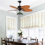 """Loon Peak® 52"""" Retro Ceiling Fan 3 Speeds Chandelier Fan 5 Reversible Palm Leaf Blade w/ Remote in Black/Brown, Size 17.72 H x 52.0 W x 52.0 D in"""