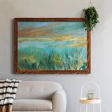 Highland Dunes Grassy Beach - Picture Frame Painting Metal in Black/Brown/White, Size 23.0 H x 32.0 W x 0.75 D in | Wayfair