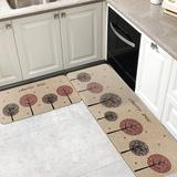 Red Barrel Studio® 2 Pieces Cushioned Chef Rug Microfiber Kitchen Rugs Non-Slip Rubber Floor Mat Kitchen Carpets Machine Washable Mat Synthetics