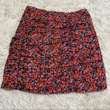 Zara Skirts | Floral Print Skirt | Color: Black/Red | Size: S