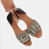Madewell Shoes   Madewell Shoes- Thea Print Calf Hair Sandals   Color: Black   Size: 8.5