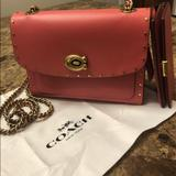 Coach Bags | Coach Pink Leather Gold Studded Bag + Wallet, Bnwt | Color: Gold/Pink | Size: Bag 7.5 Wide, 5.5 Height, Wallet 5 X 3.5