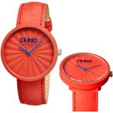 Pleats Quartz Red Dial Red Leather Unisex Watch - Red - Crayo Watches