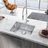 """ATTOP Handmade 23"""" L X 18"""" W Undermount Kitchen Sink w/ Basket Strainer Stainless Steel in Gray, Size 9.0 H x 23.0 W x 18.0 D in   Wayfair"""