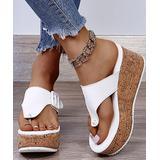 YASIRUN Women's Sandals White - White Buckle-Accent Thong-Strap Platform Sandal - Women