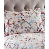 Levtex Home Shampoo White - White & Blue 'Merry Christmas' Mistletoe Standard Sham