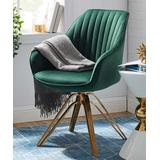 Art Leon Accent Chairs GREEN - Green Black Mid-Century Swivel Accent Armchair