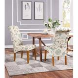 Red Barrel Studio® Dining Chairs Set Of 2 Fabric Padded Side Chair w/ Solid Wood Legs & Nailed Trim Wood/Upholstered in Blue/Brown   Wayfair