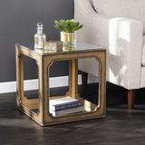 Alfriston Mirrored Square Accent Table by Southern Enterprise in Brass