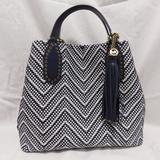 Michael Kors Bags | Michael Kors Blue Woven Leather Brooklyn Satchel | Color: Blue/White | Size: Os