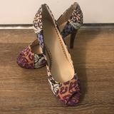 Nine West Shoes | Floral Nine West Peeptoe Platform Heels - Size 9 | Color: Orange/Purple | Size: 9