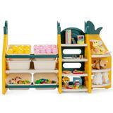 Costway 3-in-1 Kids Toy Storage Organizer with Bookshelf Corner Rack