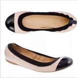J. Crew Shoes | J. Crew | Mila Cap Toe Ballet Flats Size 8 | Color: Black/Pink | Size: 8