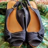 Nine West Shoes   Nine West Cork & Canvas Slingback Wedges Size 10 M   Color: Blue/Tan   Size: 10