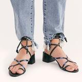 Free People Shoes   Free People Lace Up Black Leather Sandals Size 8   Color: Black/Blue   Size: 8