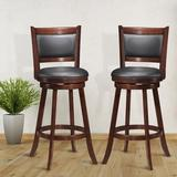 """Red Barrel Studio® Set Of 2 24"""" Accent Wooden Swivel Bar Stools w/ High Back & Upholstered Seat Wood/Upholstered/Leather/Faux leather in Black/Brown"""